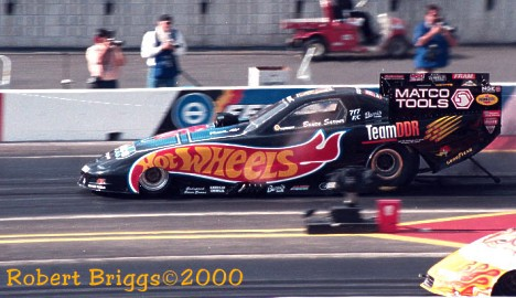 Bruce Sarver's new Hot Wheels Funny Car at the NHRA World Finals. Photo by Robert Briggs
