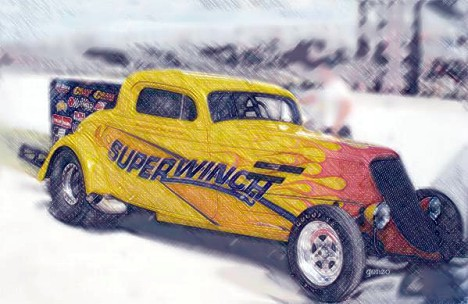Danny O'Day's Superwinch '34 Ford Wheelstander. Photo art by Gonzo