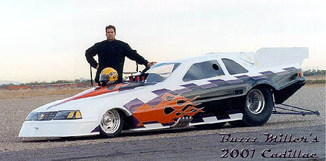 Buzzz Miller's new injected funny car is a Caddy! Photo thanks to Buzzz Miller
