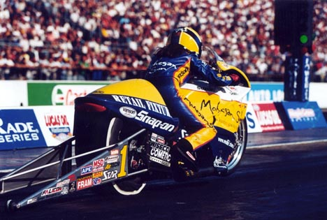 Angelle Savoie won Maple Grove on her way to the 2002 NHRA Pro Stock Bike crown. Photo by Rich Barry