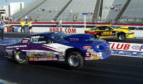 Anthony Bertozzi and Kyle Seipel faced off in the Super Stock final at Pomona. Photo by Phil Elliott