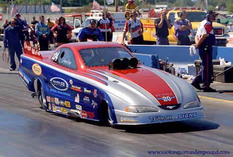 Dave Ray campaigns this tough Ford Mustang alky funny car, but never misses one of his daughter's Junior Dragster events! Photo by James Morgan