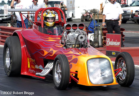 Gil Valencia's Nostalgia Eliminator Roadster at the CHRR. Photo by Robert Briggs