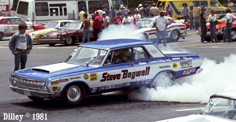 Steve Bagwell's big Mopar Super Stock smokes the tires in 1981. Photo by Ron Dilley