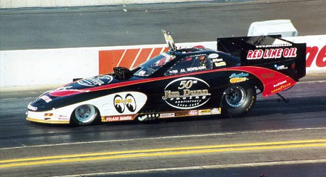 Al Hoffman in the Jim Dunn Racing Mooneyes Special at the NHRA World Finals in November. Photo by Steve Bibby