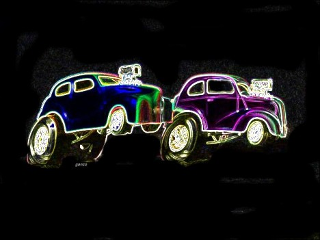 Austin vs. Anglia in Neon. Photo art by Gonzo