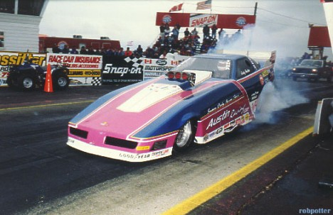 Jody Austin running as fuel car at IHRA Summernats '92. Photo by Rob Potter