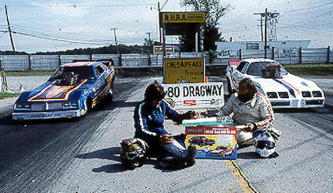 John Speelman and John Paris are settling their funny car match with the Vallco Drag Racing game. Photo from the Drag Racing Memories Collection