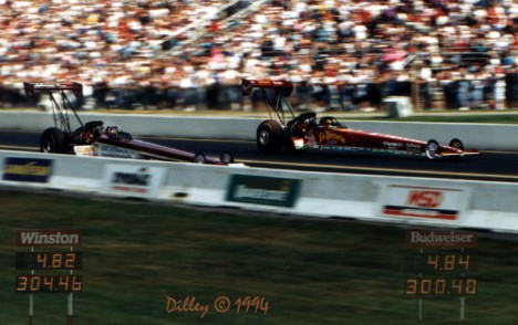 The first side by side Top Fuel 300 mph run by Ron Dilley