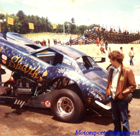 The Shark Funny Car 1972. Note fin on the front. Photo by James Morgan