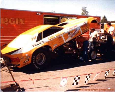 Gary Burgin's Mustang Funny Car 1979. Photo by James Morgan