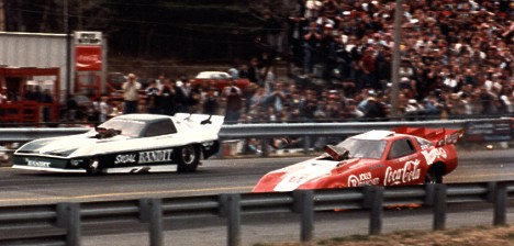 John Force vs Tim Grose 1980s. Photo by James Morgan