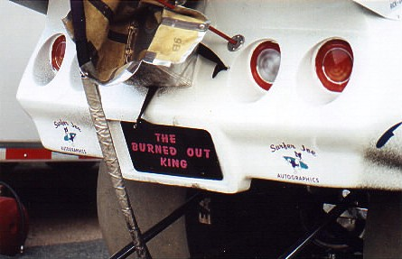 Darrell Webb's Corvette Funny Car sported this unique license plate for the event. Photo thanks to Jay Mageau