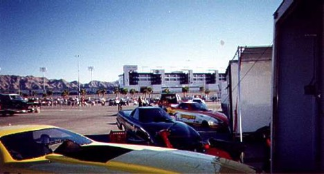 Funny Cars at the Las Vegas Oval Track. Photo by Butch Blackberg