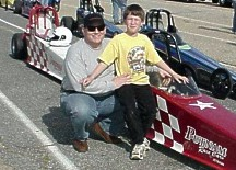 Jason and Dad pose in the staging lanes. Photo by Tim Pratt