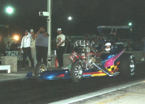 Leon Ruddock launches off the line at Albuquerque, 2000. Photo by Charlene Ruddock