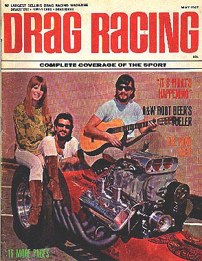 May 1967 Drag Racing Magazine cover featuring the Bandel Bros. and friend. Photo by Don Prieto