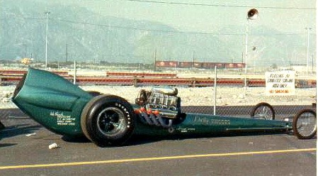 Pat Foster in the Dusty Rhodes dragster. Photo by Paul Hutchens