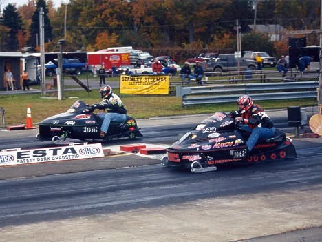 Team Powerhouse Showdown -- drag racing snowmobiles! Photo thanks to Steve LaMunion