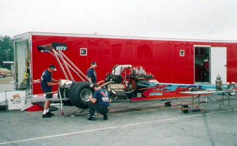 The Chicken Chokers team prepares their new machine at Virginia Motorsports Park. Photo thanks to Len Cottrell