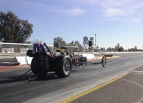 While many of her fellow drag racing friends froze their toes, Laurie Watts had her best day in her nostalgia dragster. Photo thanks to The Purple Gang
