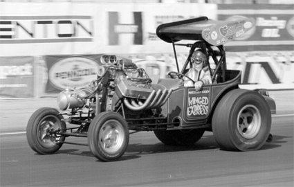 Wild Willy Borsch going straight (!) under power at the '69 Winternationals. Photo by David McFee. Thanks to Jim Sorenson