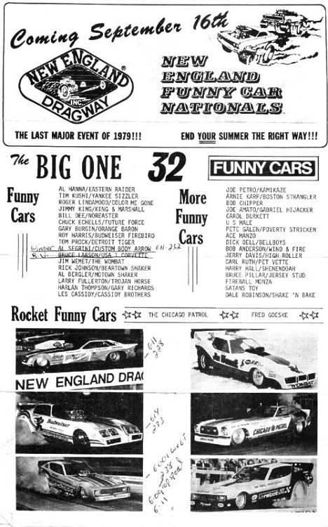 1979 New England Dragway Funny Car Nats -- Can we get back to this? Scan by James Morgan