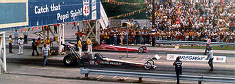 The Top Fuel final featured Frank Bradley vs. Shirley Muldowney. Photo by Rick Howard