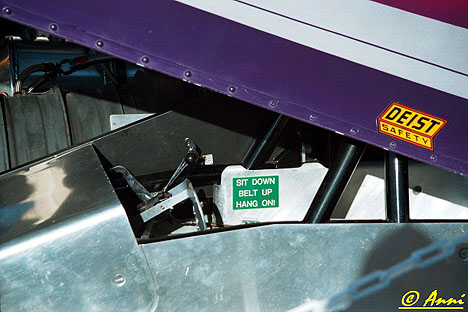 The Fireforce 2 cockpit displays an apt slogan. Photo by Anni Valder