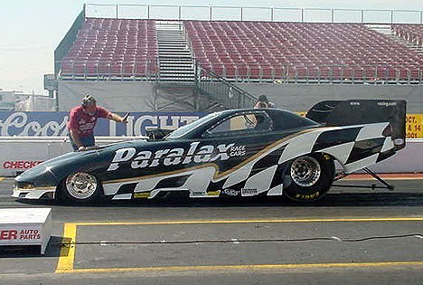 Grant Downing's Paralax machine is the latest entry on the fuel funny car scene. Photo by Connie Worsham