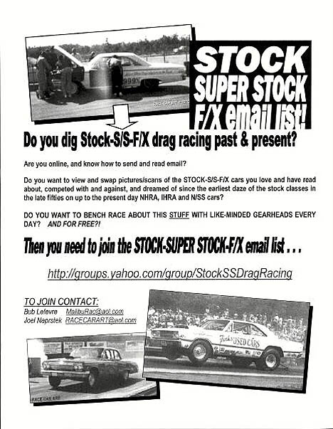 Joel Naprstek was promoting the Stock-Super Stock-FX Mailing List at Bruce Larson's USA-1 Dragfest. Flyer by Joel Naprstek