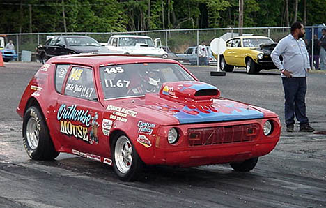 Mike Yohn -- who crews on Bruce Mullins's Funny Car -- was on hand with his mouse motored AMC Gremlin. Photo by Tim Pratt