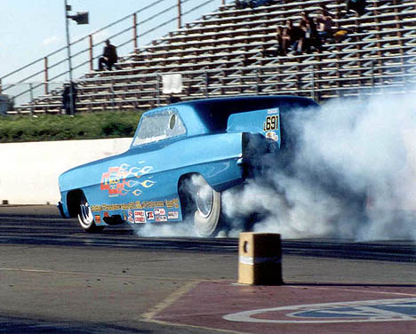 The Chevy II Much lays down a crowd pleasing burnout. Photo by Sheryl Ogonoski