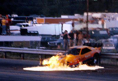 All of a sudden, the 'Raider catches fire. Al got out OK. Photo by James Morgan