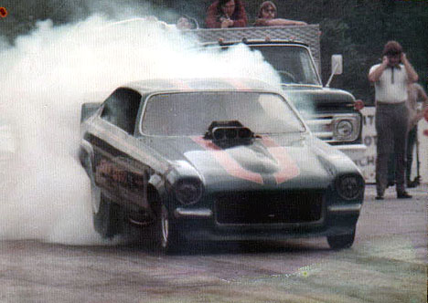 "Ezra Boggs' Chevy Vega burns out at ""Sand Valley"""