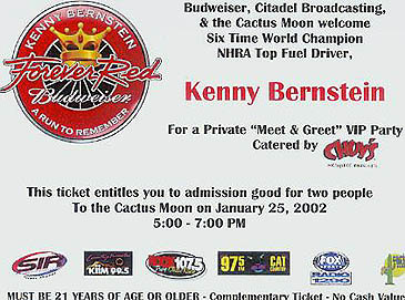 Photographer Gemar won this invitation on a radio show on KIIM FM to attend Kenny Bernstein's shindig. Scan by Pete Gemar