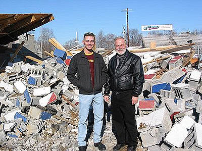 It's Miller Time (Chris and Royce) as the demolition is complete. Photo by Stephen Jones