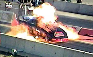 Jason DuChene suffered one of the most intense funny car explosions in recent memory. Photo by Sheryl Ogonoski