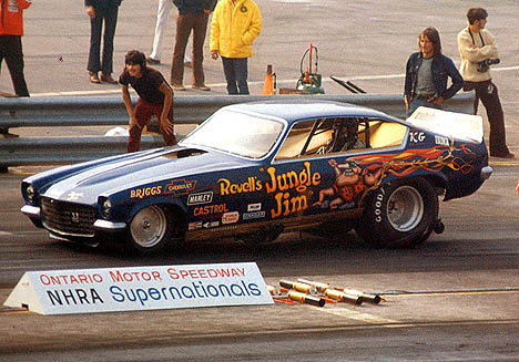 Jungle Jim at NHRA Ontario 1972. Note the JJ logo in the grille. Photo by Dave Milcarek