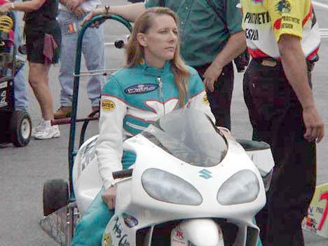 Karen Stoffer made it to the finals in just her third outing in Pro Stock Bike. Photo by Stephen Hawes