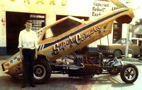 Perry Wyatt, Sr., and the Super Camaro. Photo thanks to Perry Wyatt, Jr.