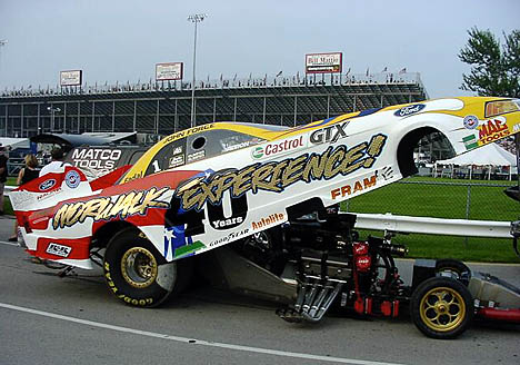 Star attraction John Force sported special Norwalk Anniversary body. Photo by Vic Cooke