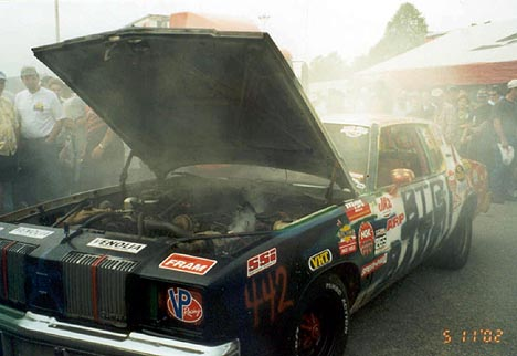 The Big Bang Oldsmobile exploded in flames after going wide open for a few minutes. Photo by Berserko Bob