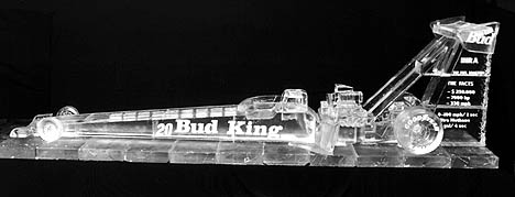 This top fuel dragster measures 20 feet long and was carved from three tons of ice! Photo by Julian Bayley