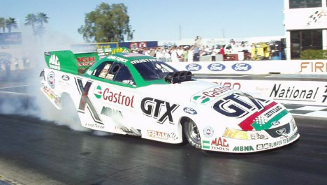 John Force picked right up where he left off, running low 4.80s.