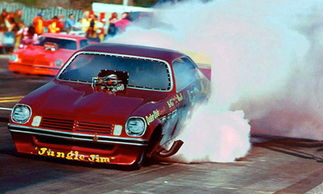 Here's the red Jungle Jim Vega at the 1975 Winternationals. Photo by Dave Milcarek