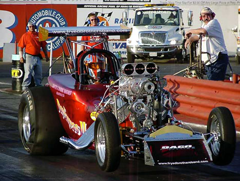Don Dicero's 'Dago Express III' Chevy powered AA/Altered at the 2002 CHRR. Photo by Vic Cooke