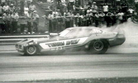 Terry Ivey's Charger slows after a smoky burnout at Dragway 42 in the mid 70s. Photo by Bob Strait
