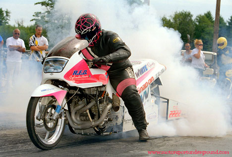 The White Racing Top Bike warms up the Goodyear before blasting down the quarter. Photo by James Morgan