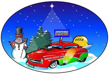Happy holidays from Computer Magic Online and Draglist.com! Holiday racing art by Jim M White